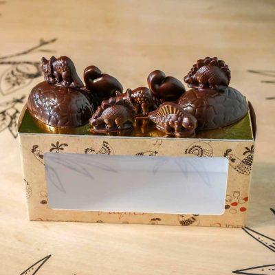 Composition dinosaures chocolat noir